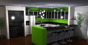 yeşil siyah mutfak