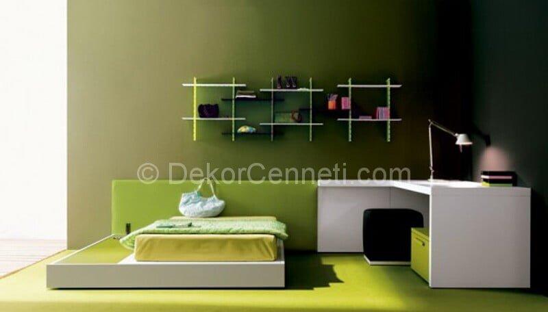 Yeşil Tonlara sahip Duvar boyalı çocuk odası dekorasyonu