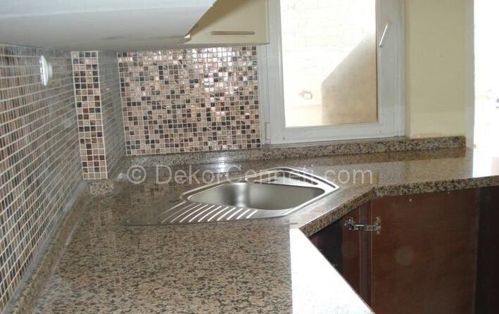 Yeni düz renk granit mutfak tezgahı Galeri