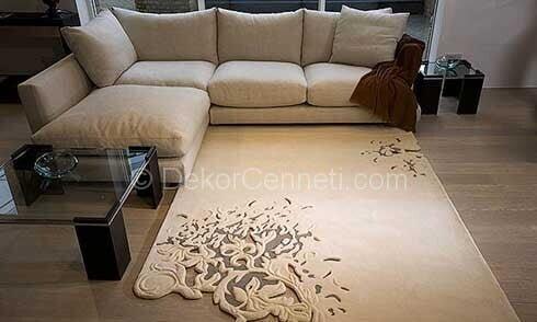 Yeni gri koltuk ile uyumlu halı Modelleri