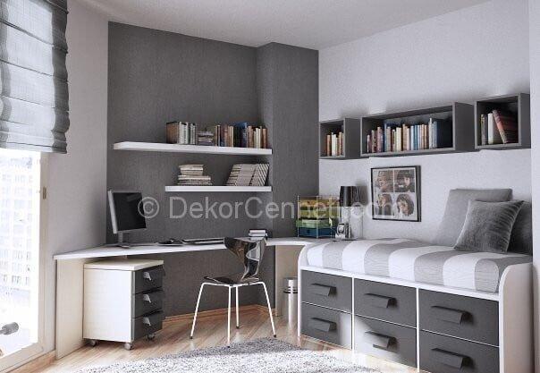 Yeni Moda gri beyaz genç odası Galeri