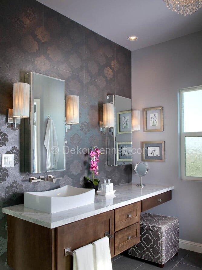 Yeni mor banyo dekorasyonu Fotoğrafları