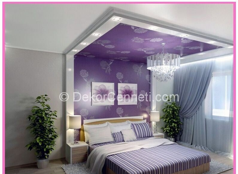 Yeni yatak odası için asma tavan Fotoğrafları