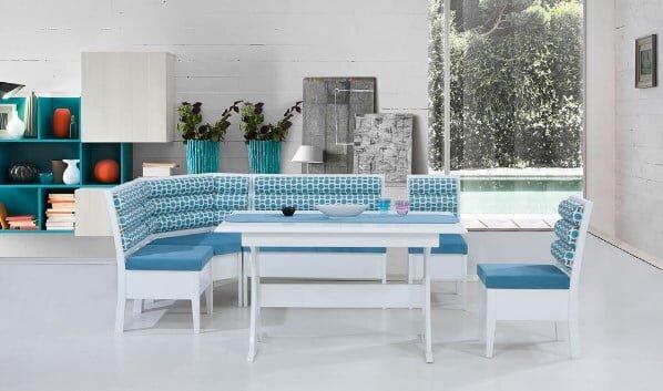 yildiz mobilya mavi beyaz modern mutfak kose takimi modeli