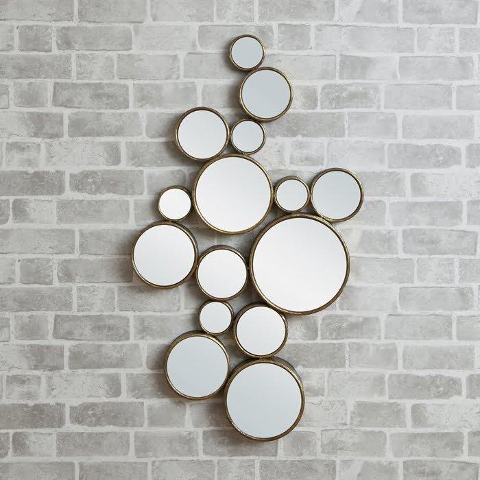 yuvarlak parcali dekoratif duvar aynasi modeli